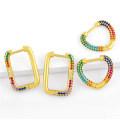 Wholesale Gold Heart Hoop Earrings Women CZ Cubic Zirconia Jewelry Gifts Multicolor Rectangle Huggie Earrings