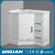 Boden Stehend Hochglanz Weiß Farbe Finish Künstliches Marmorbecken mit allen Kanten Polierte MDF Ecke Badezimmer Eitelkeit