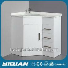 Piso de pie de alto brillo blanco de color acabado artificial de mármol lavabo con todos los bordes pulido MDF esquina baño vanidad