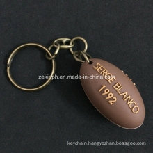 Custom 3D Rubber PVC Rugby Ball Shape Keyring for Souvernir Gift