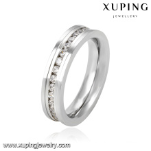 Anillo de dedo de joyería de acero inoxidable zirconia cúbica moda 13945