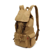 Multi-Function Vintage Canvas Leather Hiking Travel Military Backpack for Men