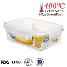recipiente de vidro, fácil bloqueio, recipiente de alimento de vidro hermético resistente ao calor
