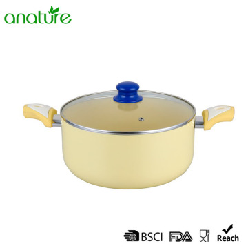 High Performance for Pressed Aluminum Frying Pan 8 Inch Pressed Yellow Non Stick Casserole supply to Cambodia Exporter