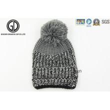 Custom OEM Pompom 100% Beanie em malha de malha, chapéu de malha