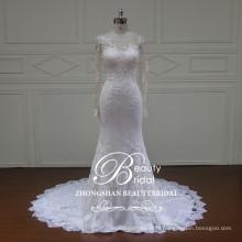 Longueur au sol nouvelle illusion de mode robe de mariée sirène avec une longue manchette en laine de champagne
