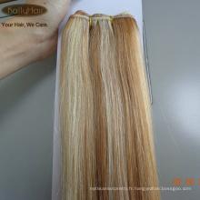 Wholsale Prix Russe Piano Couleur Blonde Plus Léger Brun Double Dessiné Soie Droite Tissage Pas Cher Extensions de Cheveux Humains 100g / pc