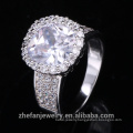 wholesale costume jewelry big white and round cubic zircon christmas ring