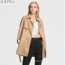 Otoño al aire libre nuevas mujeres coreanas abrigo largo doble Breaste ante Trench capa manga mujeres abrigo de cuero chaqueta