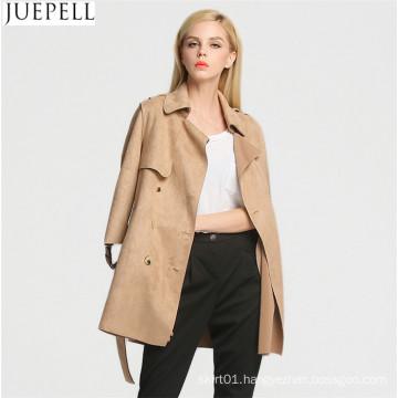 Autumn Outdoor New Korean Women Long Coat Double Breaste Suede Trench Coat Sleeve Women Leather Jacket Coat
