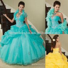 NY-2285 Organza avec une robe de quinceanera perlée