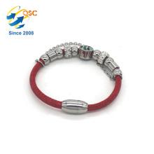 Passen Sie Ihr Logo PU-Leder Stahl Manschette Hand Armband mit Perlen