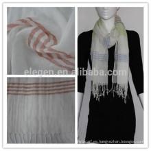 100% Hilado de algodón teñido de rayas larga bufanda