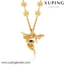 43313 collier à longue chaîne en or conçoit la meilleure vente de collier de bijoux pendentif dragon en or