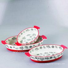 OEM Size Hand Painting Glazed Ceramic Bakeware Plate