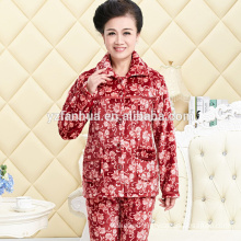 Printed Warm Coral Fleece Women's Pyjama suit with long sleeves