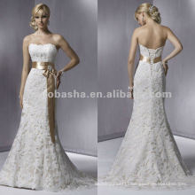 Soft strapless lace with bow sash sheath wedding dress/bridal gown
