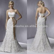 Laço sem alças suave com vestido de noiva de gola de faixa de arco / vestido de noiva