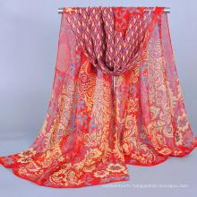 Écharpe et châle en mousseline de soie de luxe couleur pas cher motif paon 2016 gros Chine