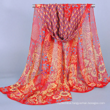Luxury bright color cheap peacock pattern chiffon scarf and shawl 2016 wholesale China