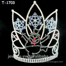 Wholesale crystal christmas pageant crowns with snowman and snowflake