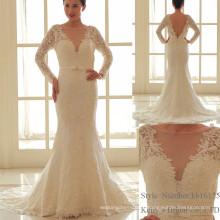 Глобальные Горячие Продажи Глубоким V-Образным Вырезом Печатных Кружева Платье Невесты Платья
