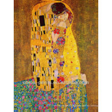 Pintura abstrata do óleo da lona do amor de Mughal Handmade para a decoração da sala de visitas