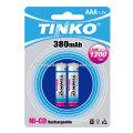 ni-cd battery size AAA 380mah 2pcs/blister AAA/C/D/9V/SC