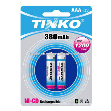 ni-cd battery size AAA 380mah 2pcs/blister AAA/C/D/9V/SC