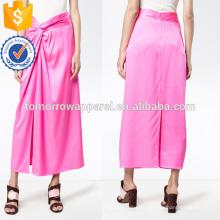 Nova moda 2019 torção rosa de seda de cetim aberto fenda midi verão saia fabricação atacado moda feminina vestuário (ta0028s)