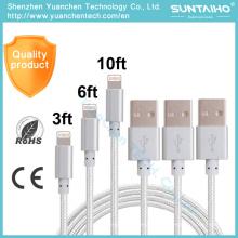 Novo cabo de carregamento de dados USB Nylon 8pins para iPhone