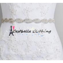 2016 Venta popular único diseño elegante Rhinestone cristal Applique Banding perla de encaje de cuentas recorte nupcial del cinturón de novia