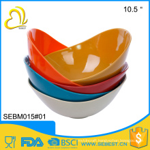 "Practical unbreakable plastic 10.5"" dinner bamboo fruit bowl"
