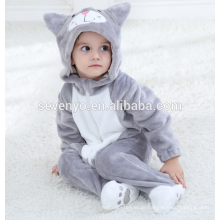Weiche Baby Flanell Strampler Katze Onesie Pyjama Outfits Anzug, Schlafanzug, Baby-Kapuzenhandtuch