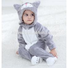 Macio bebê Flanela Romper Cat Onesie Pijamas Outfits Terno, desgaste do sono, toalha de bebê com capuz