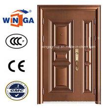 Eine und halbe Doorleaf Opening Secuirty Steel Kupfer Tür (W-STZ-01)