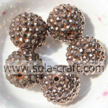 All'ingrosso 20 * 22MM rame resina solida strass perline braccialetto grosso