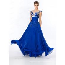 Alibaba Elegant Long Nouveau Designer Cap Sleeve Royal Blue Couleur Tulle Beach Robes de soirée ou Robe de demoiselle d'honneur LE31