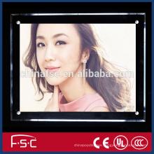 Led acrylic panel crystal pendant lightbox for poster frame