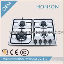 Plaque de cuisson au gaz à 4 brûleurs en acier inoxydable pour ustensiles de cuisine