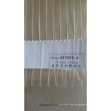 New Design Golden Line Stripe Organza Sheer Curtain Fabric