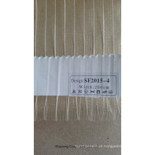 New Design Golden Line Stripe Organza tecido de cortina Sheer
