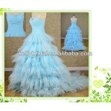 2014 vestido de noiva azul de estilo novo com decote sweathreat