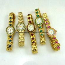 Art- und Weisearmbanduhr-Dame-Goldkristallschmucksache-Uhr-Quarz