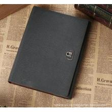 Cuaderno de la Hoja-Hoja del negocio de la PU de encargo, libreta de la hebilla del metal para el regalo