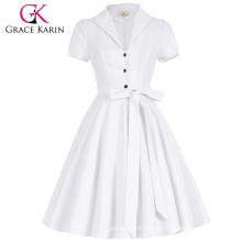 Grace Karin Lapel Collar Nylon-Algodón de los años 50 de manga corta Vintage Blanco Retro Vestidos CL008946-1