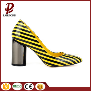 colourful stripe PU sweet comfortable women shoes