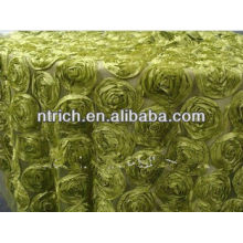 Gorgeous floral patterns table cloth for wedding, satin rosette table cloth