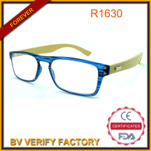Moda nueva moda colorida compacta lectura gafas gafas de brazo de bambú con marco pequeño de la PC