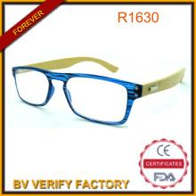 Nova moda colorida compacta óculos bambu braço óculos de leitura com quadro de PC fino